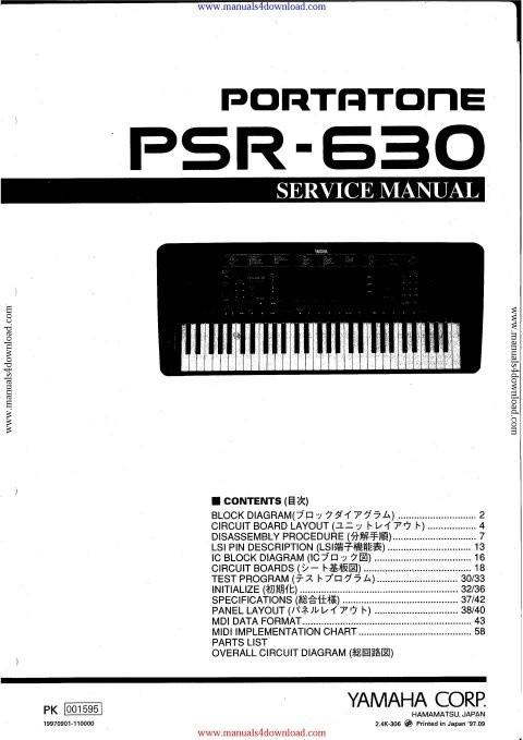 Yamaha PSR630 Service Manual