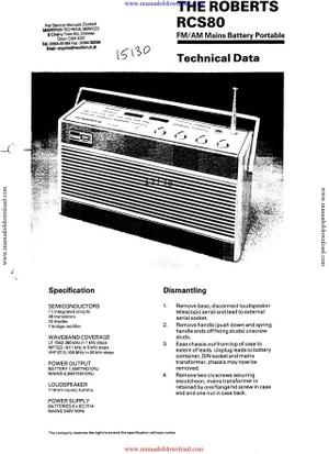 Roberts RCS80 Service Info