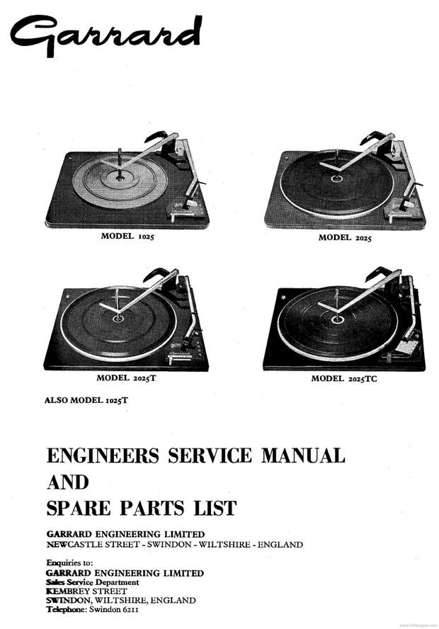 Garrard 1025. 1025T. 2025. 2025T. 2025TC Service Manual
