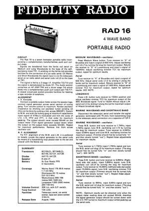 Fidelity RAD16 Service Info