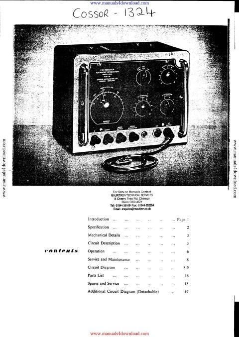 Cossor 1324 Instruction Manual