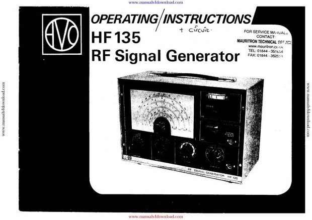 AVO HF135 Signal Generator Instructions with Schematics