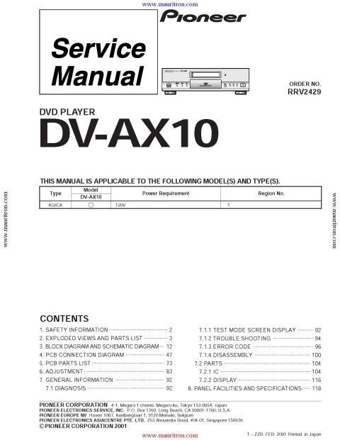 Pioneer DV-AX10 Service Manual