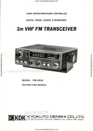 KDK FM2030 Instruction Manual