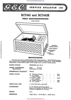 GEC BC7443 Service Manual