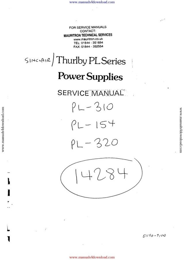 Thurlby PL Series Service Manual