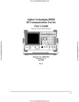 Agilent 8921A Operating Guide