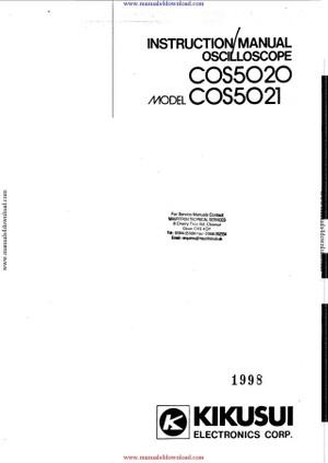 Kikusui COS5020 Instructions with Schematics