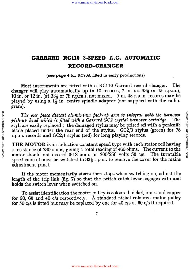 Garrard RC110 Service Manual