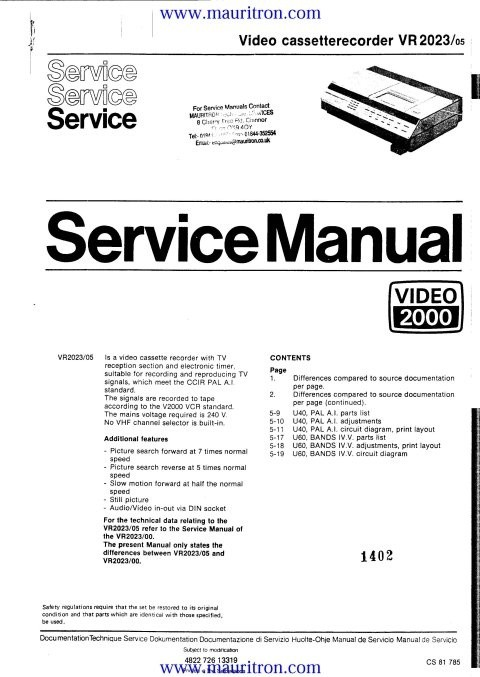 Philips VR2023 Service Manual