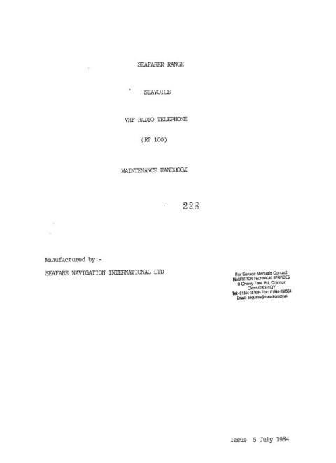 Seavoice RT100 Service Manual