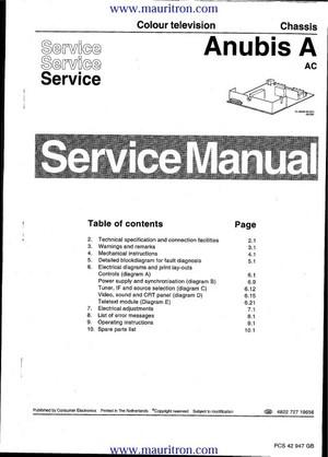 Philips 17PT161A Anubis A Service Manual