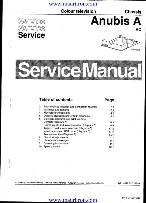 Philips 17PT161A Anubis A Service Manual