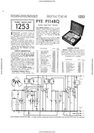 Pye P114BQ Service Schematics