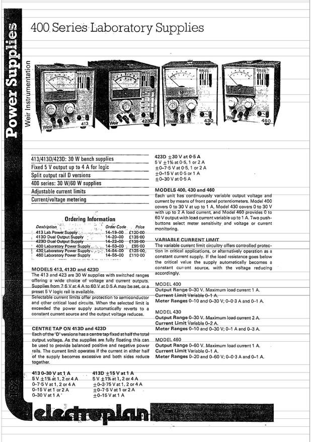 Weir 400. 430. 460 Power Supply Service Schematics