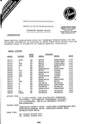 Hoover A8xxx Range Service Manual