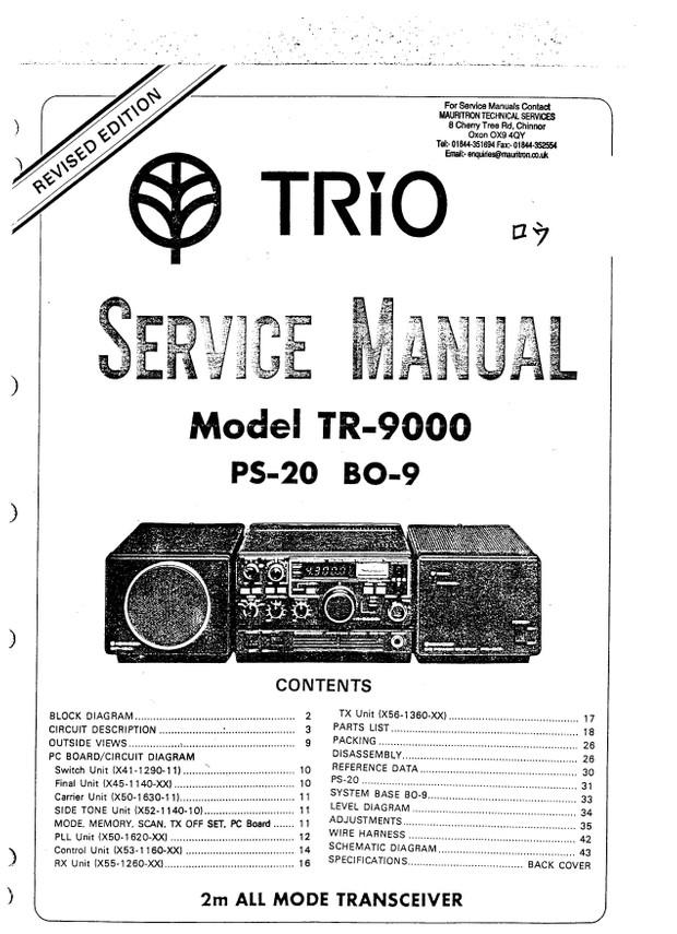 Kenwood Trio TR9000 PS20 BO9 Service Manual