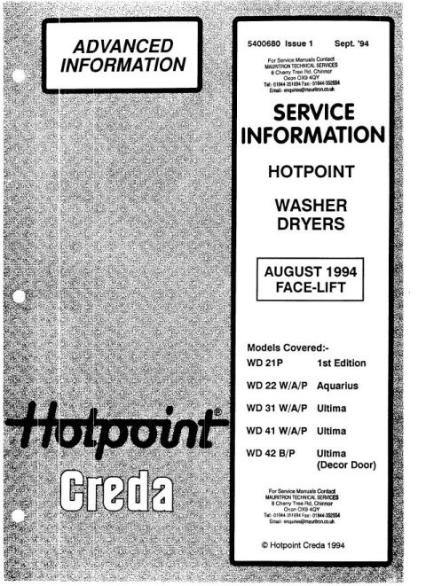 Hotpoint WD22A Service Manual