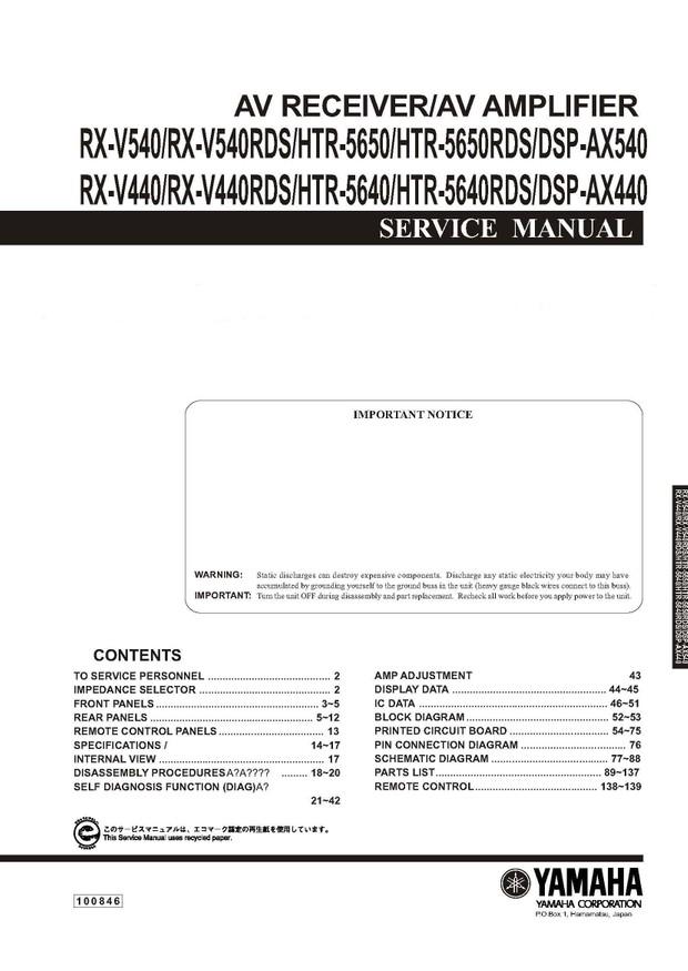 Yamaha RXV440, 540, HTR5640,50,DSPAX440,540 Service Manual
