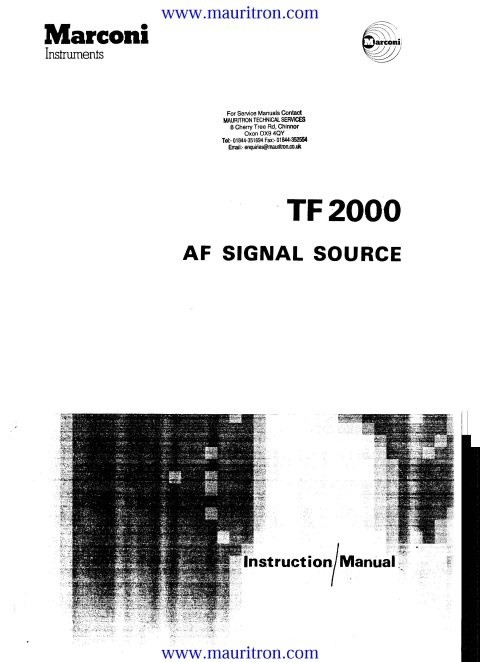 Marconi TF2000 Instruction Manual