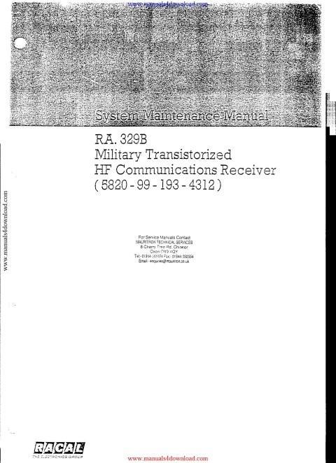 Racal MA323 Service Manual