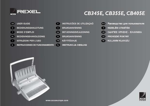 Rexel CB345E. CB355E. CB405E Operating Guide
