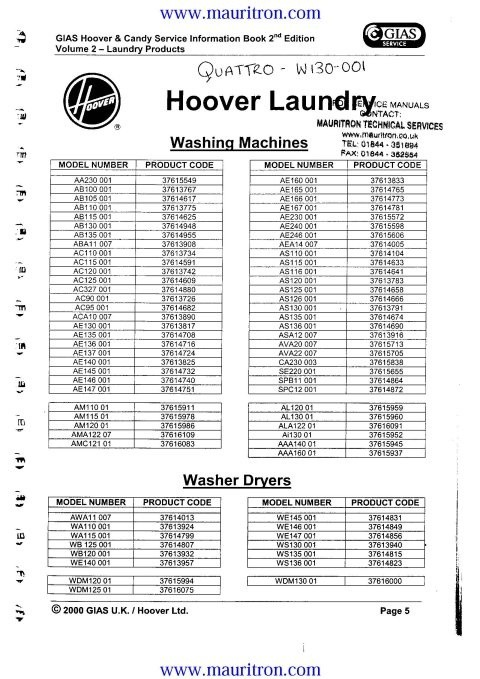 Hoover WMD130 Service Manual