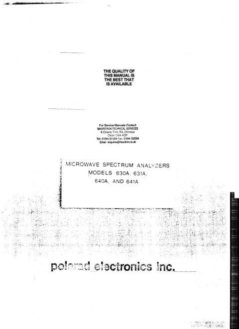 Polarad 630 Service Information