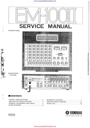 Yamaha EM100 II Service Manual
