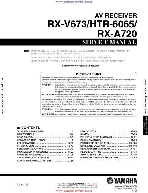 Yamaha RX-V673 Service Manual