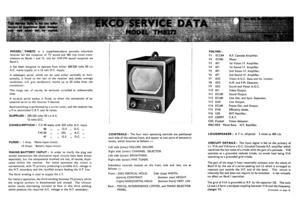 Ekco TMB272 Service Info