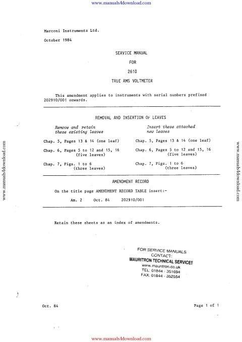 Marconi 2610 Service Manual