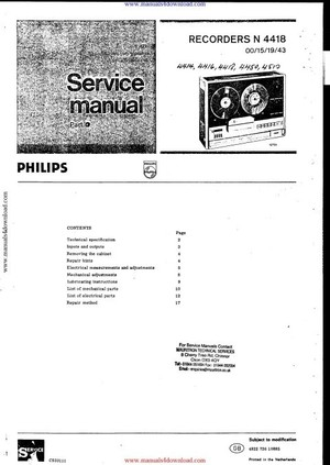 Philips N4416 Service Manual