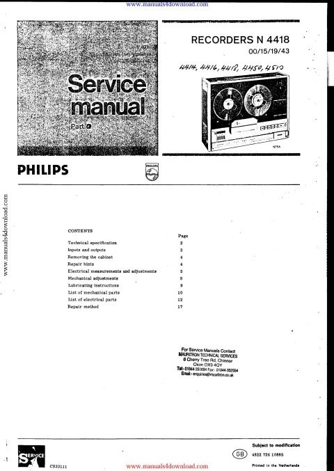 Philips N4416 Service Manual