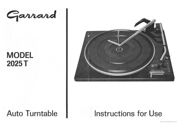 Garrard 2025T Operating Guide