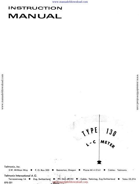 Tektronix 130LC Instruction Manual