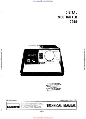 Solartron 7040 Service Manual
