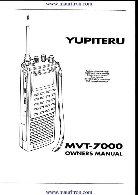 Yupiteru MVT7000 Instructions with Schematics