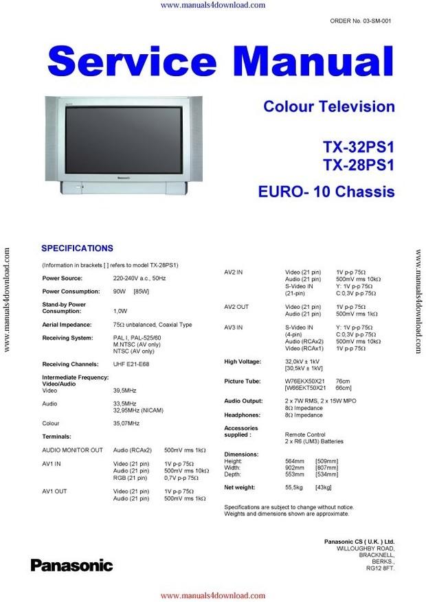 Panasonic TX32PS1 Service Manual