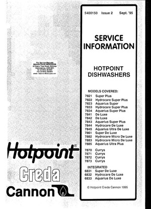 Hotpoint 7842 Service Manual