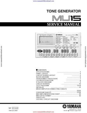 Yamaha MU15 Service Manual
