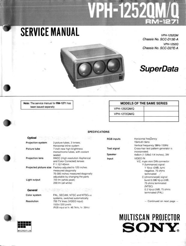 Sony VPH1252QM Service Manual