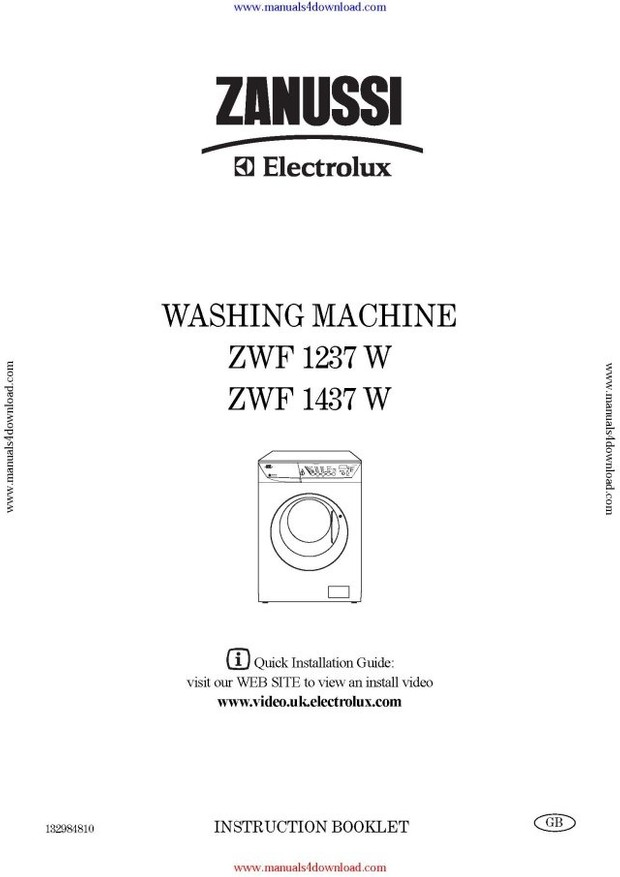 Zanussi ZWF1237W Operating Guide