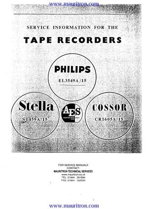 Cossor CR1605A/15. Philips EL3549A/15. Stella 459A/15 Service Manual