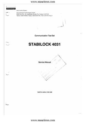 Schlumberger 4031 Service Manual