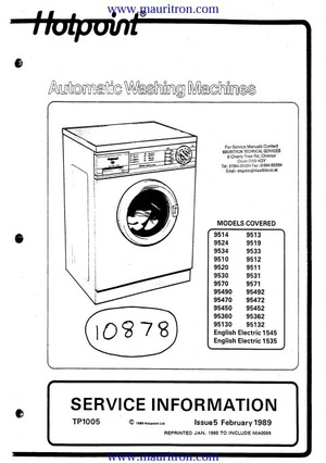 Hotpoint 95450 Service Manual