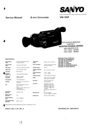 Sanyo VMD5P Service Manual
