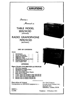 Grundig 2035/W/3D Service Manual