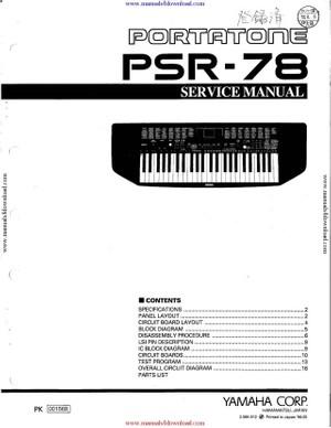 Yamaha PSR78 Service Manual