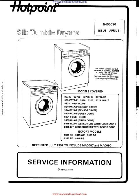 Hotpoint 9330 Service Manual